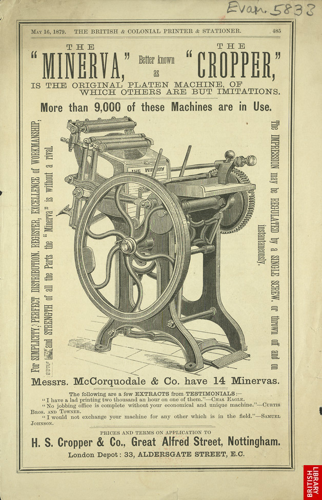 Advert for the Minerva Printing Machine